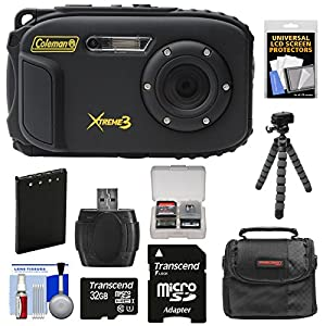 Coleman Xtreme3 C9WP Shock & Waterproof 1080p HD Digital Camera with 32GB Card + Battery + Case + Flex Tripod + Float Strap + Kit