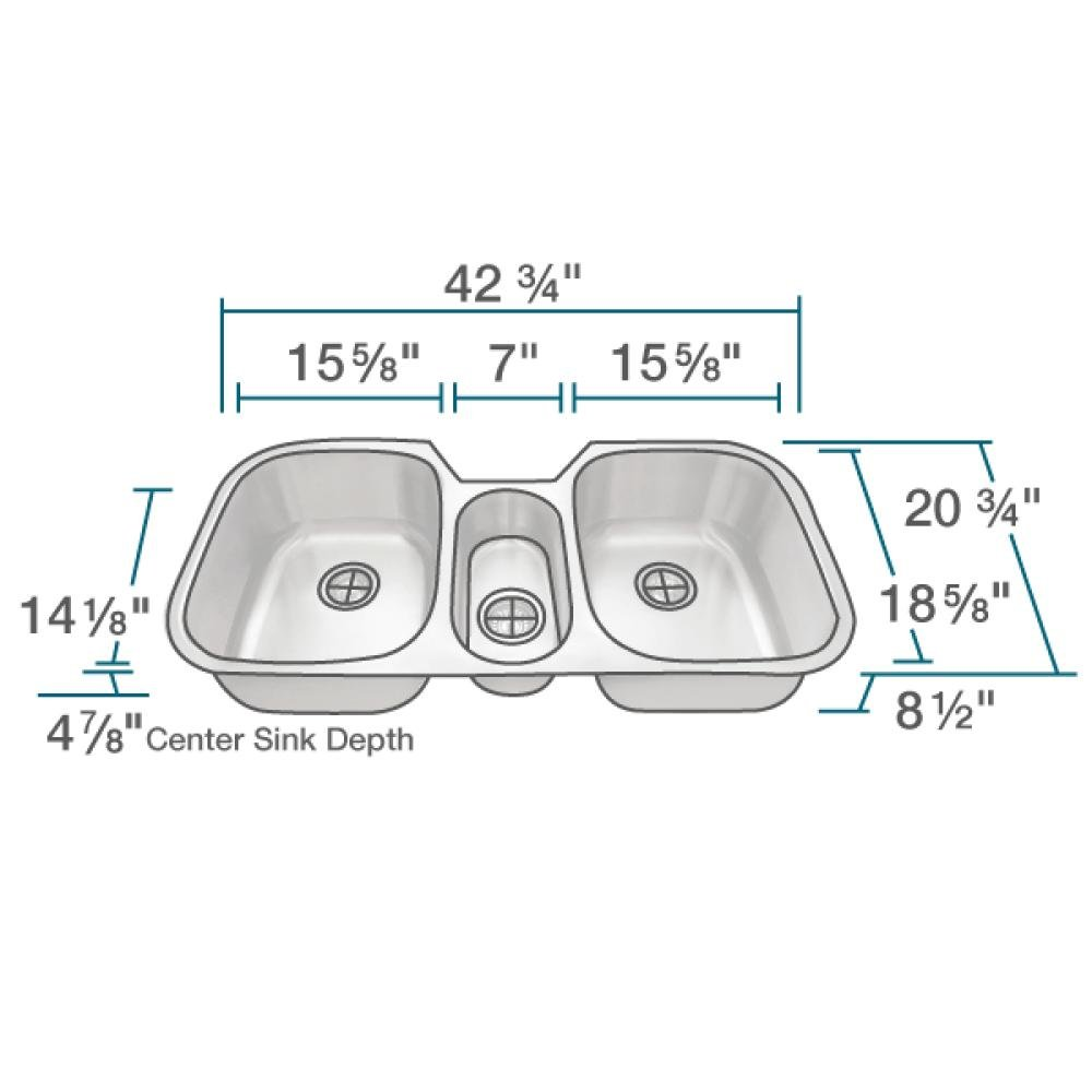 4521 Triple Bowl Stainless Steel Kitchen Sink, 16-Gauge, Sink Only by MR Direct (Image #3)
