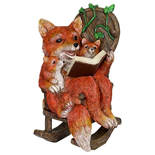 Exhart Solar Fox Family Reading a Book on a Rocking Chair Garden Statue - Bookworm Foxes Mini Figurine w/Solar LED Lights, Booklovers Fox Statue, Resin Fox Decorations, 8.3 x 8.3 W x 12.2