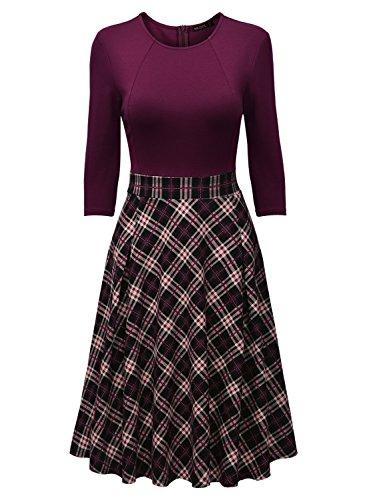 MissMay-Womens-Vintage-Retro-Plaid-Patchwork-A-line-Cocktail-Party-Dress
