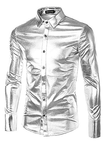 Mouou Disco Clothes for Men,Shiny Metallic Vintage Long Sleeve,Silver L