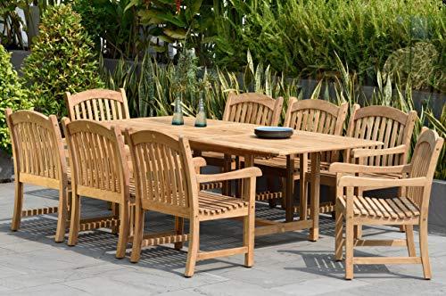 Amazonia Teak Newcastle 9-Piece Teak Rectangular Dining - Teak Outdoor Dining Furniture