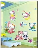 ENFANTS STICKERS MURAUX GRAND DISNEY HELLO KITTY 3D EFFET bonjour minou AUTOCOLLANTS FILLES CHAMBRE DE MUR CHAMBRE DECOR Décoration Sticker Adhesif Mural Géant Répositionnable