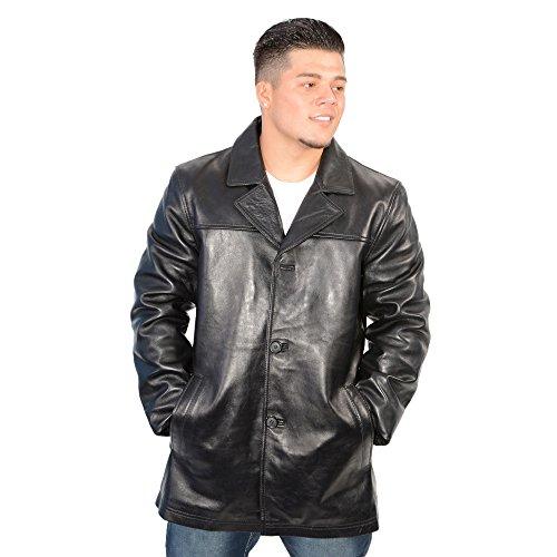 Milwaukee Leather Men's Classic Four Button Front Car Coat (Black, 2X-Large) - Four Button Leather Coat