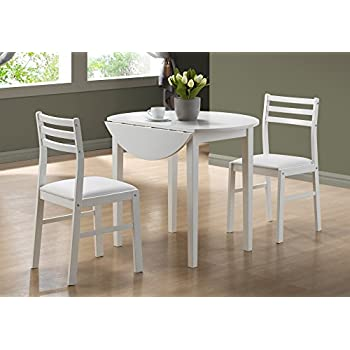 Monarch Specialties 3 Piece Dining Set With A 36 Inch Diameter Drop Leaf  Table
