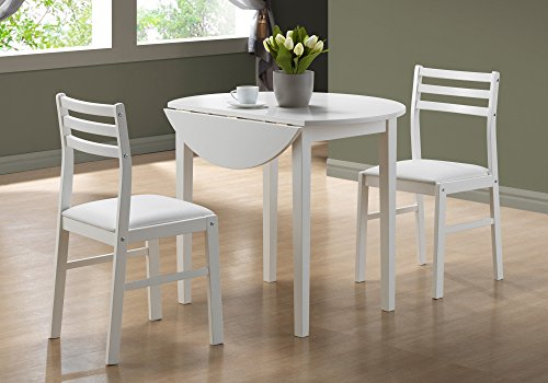 Monarch Specialties 3-Piece Dining Set with a 36-Inch Diameter Drop Leaf Table, White (Lift Chair Specialty Line)