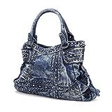Denim Women's Shoulder Bags Fashion Rivet Women Purse Jeans Totes Lady Handbag (Denim-wash Blue)