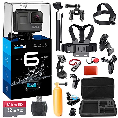 GoPro HERO6 Black Bundle w/ 32GB micro SD Memory Card + 44 Piece Accessory Kit by K&M