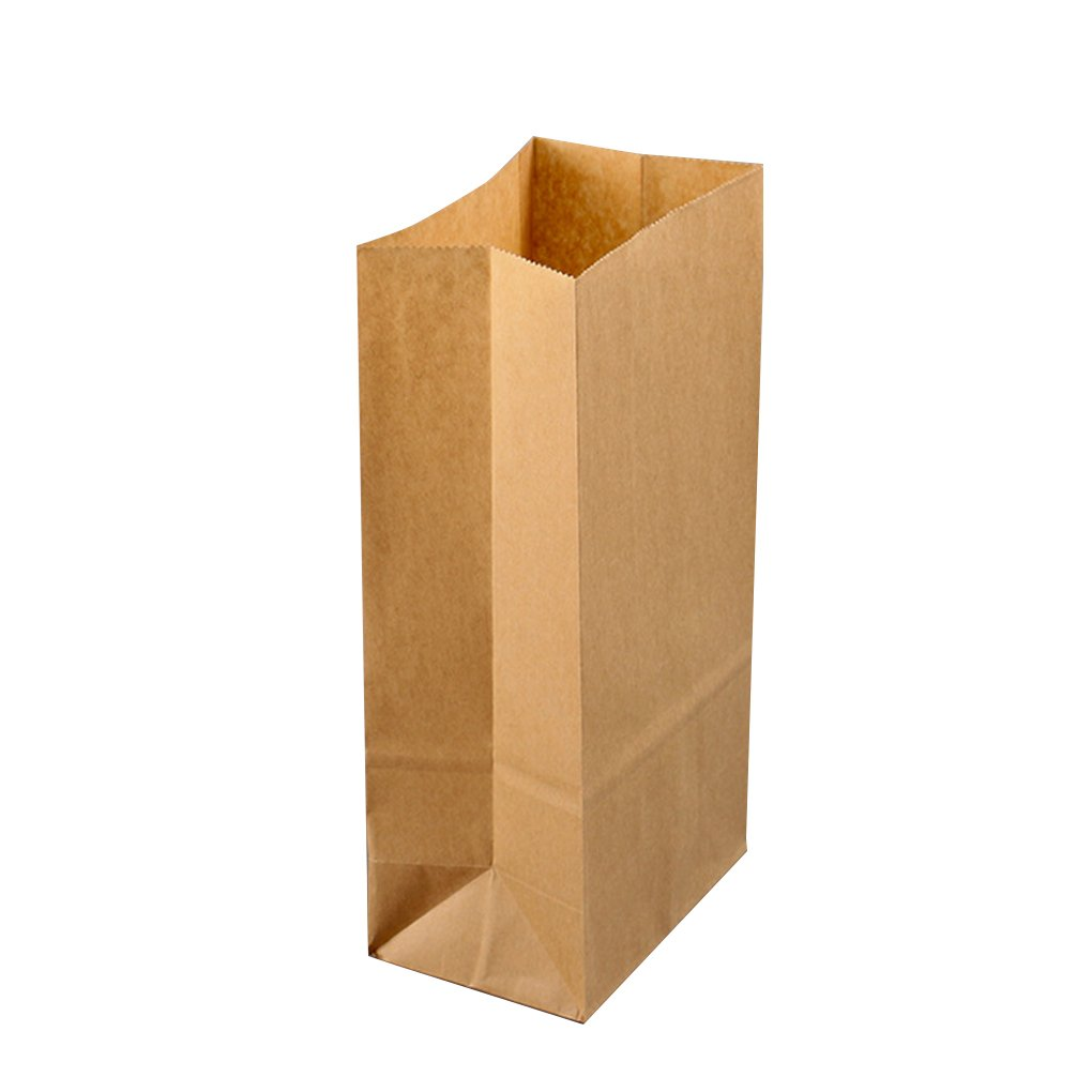 MuLuo 100pcs Kraft Paper Baking Oil-proof Takeaway Blank Food Packaging Bag Recyclable Jewelry Bread Shopping Party Bags
