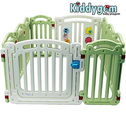 (Kiddygem M7 Extra Tall Baby playpen (10 Panels) - Green (15.5 sq.ft))