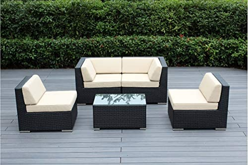 Ohana 5 Piece Outdoor Patio Furniture Sectional Conversation Set Black Wicker With Beige Cushions No Assembly With Free Patio Cover Garden Outdoor Amazon Com