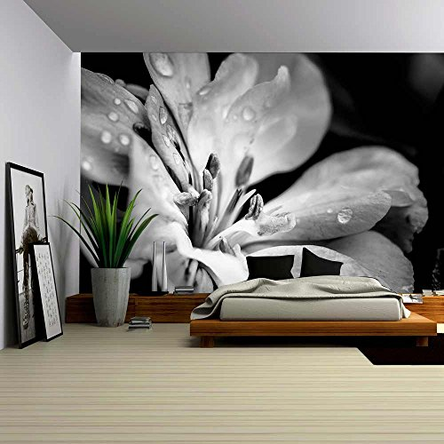 Wall26 flower with raindrops removable wall mural self adhesive large wallpaper 100x144 inches