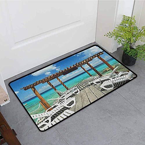 Outdoor Doormat,Travel Beach Sunbeds Ocean Sea Scenery with Wooden Seem Pier Image Print,Super Absorbs Mud,35