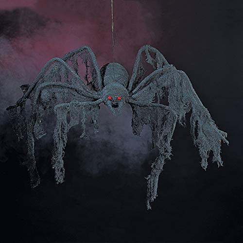 Fun Express - Black Creepy Cloth Spider for Halloween - Home Decor - Decorative Accessories - Home Accents - Halloween - 1 Piece]()