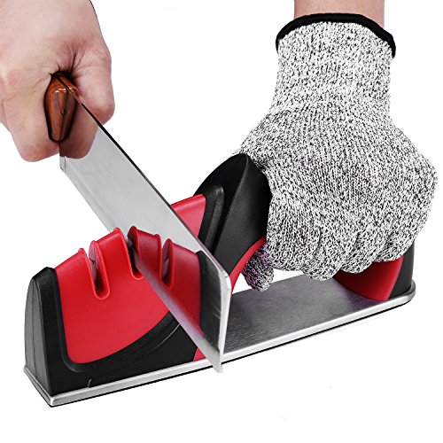 Knife Sharpener – 3 Stage Chef Knife Sharpener Knife Sharpening System Tool Home Knife Sharpener with Stainless Tungsten Diamond Sharpening Stone to Repair Polish Blades 1Pcs Cut-resistant Glove