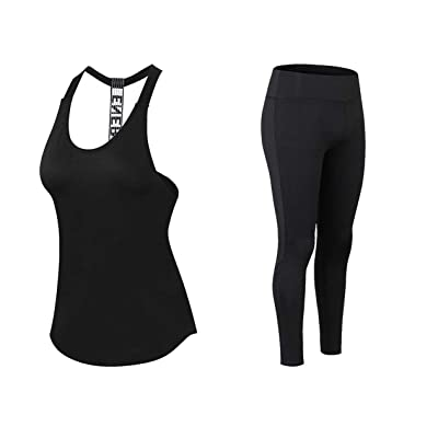 Boshier Women Yoga Top Gym Sports Suit Sleeveless Shirts Run Fitness Pants
