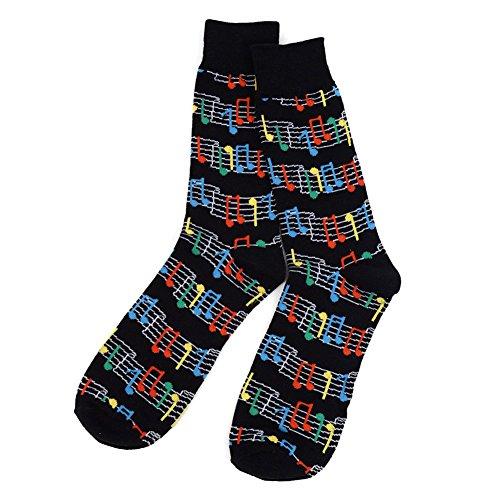 Men's Black Rainbow Music Notes Woven Musician Novelty Crew Dress Socks