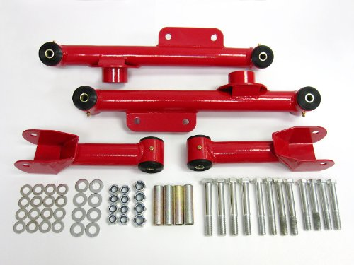 Control Arms Ford Mustang Rear Upper and Lower Control Arm Full Kit (Red) Premium Quality -
