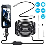 Endoscope Camera 5.5MM 3 in 1 USB Borescope, SKMOO Semi-Rigid Aluminum Head Endoscope Android Inspection Camera 2.0 Megapixels CMOS HD Waterproof Snake Camera with 6 Adjustable Led Light (5M) 16.5FT