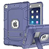 iPad Mini 5 Case, iPad Mini 5th Generation Case, Hybrid Three Layer Armor Shockproof Rugged Drop Protection Cover Case Built with Kickstand for iPad Mini 5 7.9' 2019 (Navy+Gray)