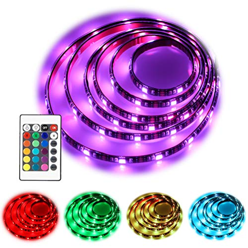 (imenou Battery Powered Led Strip Lights 24 Keys RF Remote, USB Battery Operated TV Backlight Flexible Waterproof Colorful RGB SMD5050 Neon Led Light Strip Decorative Lighting for Home Kitchen Ad)
