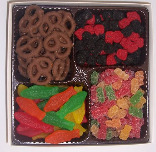 Scott's Cakes Large 4-Pack Chocolate Pretzels, Swedish Fish, Raspberries and Blackberries, & Sour Gummie Bears