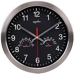 12 Quartz Round Silent Metal Frame Digital Decorative Wall Clock No Ticking w/ Temperature & Humidity Stats, Black