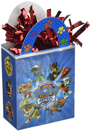 Amscan Amazing Paw Patrol Birthday Party Mini Tote Balloon Weight Decoration (1 Piece) Red (12), Blue, 5.7 Oz Amazing Animals Tote