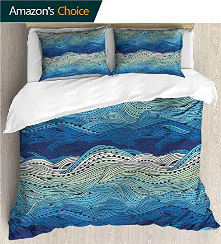 Kas Oriental Multi Waves - VROSELV-HOME 3 Pcs King Size Comforter Set,Box Stitched,Soft,Breathable,Hypoallergenic,Fade Resistant Cool 3D Outer Space Bedding Digital Print-Aquatic Hand Drawn Waves Seascape (87