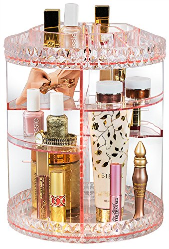 (Sorbus Rotating Makeup Organizer, 360° Rotating Adjustable Carousel Storage for Cosmetics, Toiletries, and More — Great for Vanity, Bathroom, Bedroom, Closet, Kitchen (Pink))