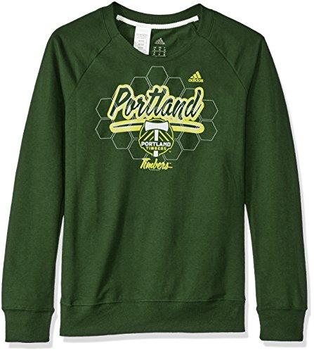 MLS Portland Timbers Women's Liquid Honeycomb French Terry Crew Sweatshirt, Large, Dark - Adidas Womens Honey