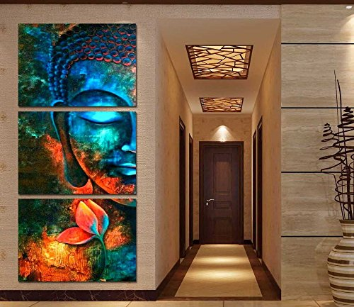 Framed 3pcs Abstract blue Buddha Modern home decor Canvas Pr