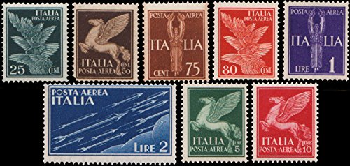 Italy Scott C12-C19 25c Wings and 80c Wings, 50c, 5L and 10L Pegasus, 75c and 1L Italia and 2L Arrows.. Mint never hinged.