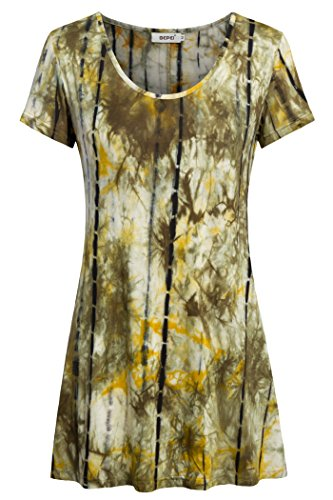 Short Sleeves Blouses for Women,Bepei Work Shirts Tops and Tees Yellow Green M