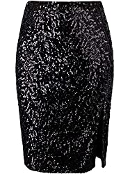 Sequin Elegant Stretchy Skirt With A Side Slit