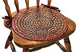 Sonya Reversible Braided Chair Pads, 15-Inch, Burgundy, Set of 4