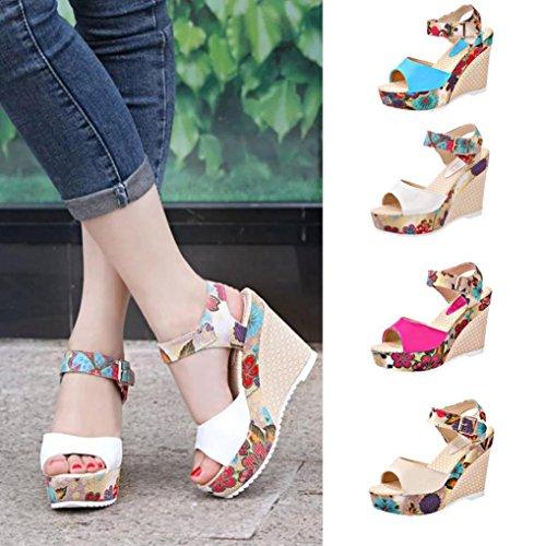 Transer® Damen Einzigartig Keilabsatz Sandalen Outdoor Mehrfarbig High Heel Urlaub Sandalen Weiß