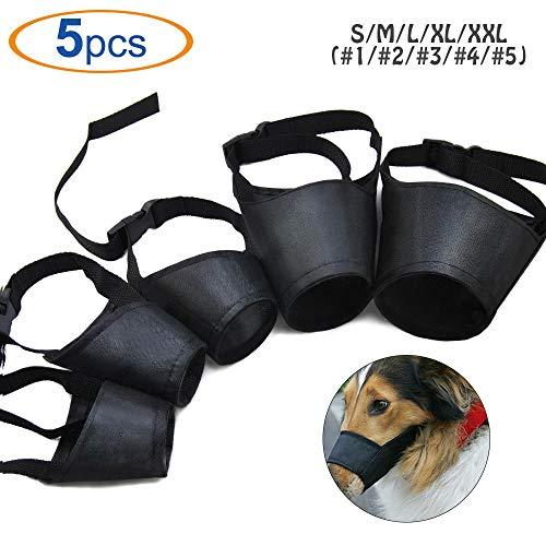 HS 1SET Dog Muzzles Suit,5PCS Adjustable Dog Mouth Cover Anti-Biting Barking Muzzles for Small Medium Large Extra Dog
