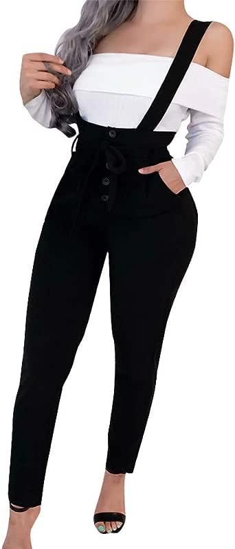 Womens Baggy Harem Pants,Ladies Summer Casual Elastic Waist Tide Strap Damenloose Shorts with Pocket