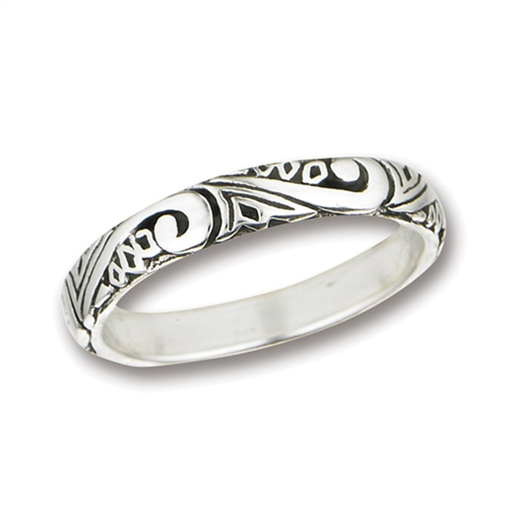 Swirl Scroll Wedding Thumb Ring .925 Sterling Silver Stackable Band Size 9