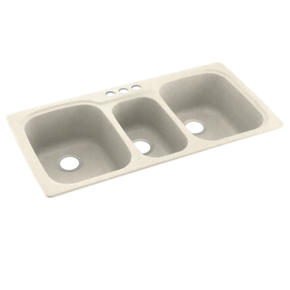 Swanstone KS04422TB.072-3 3-Hole Solid Surface Kitchen Sink, 44'' x 22'', Pebble