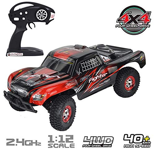 Brushless RC Short Course Truck, Keliwow 1:12 Scale 4WD 40 MPH High Speed Off-Road RC Car 2.4GHz Remote Control Vehicles RTR (01-Red)