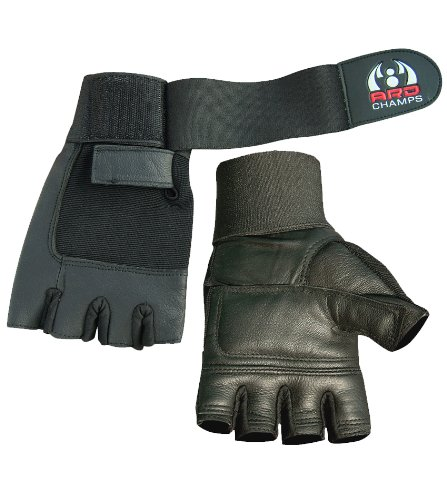 ARD CHAMPS Leather Weight Lifting Gloves Long Wrist Wrap Padded Strength Training Gym S-XXL