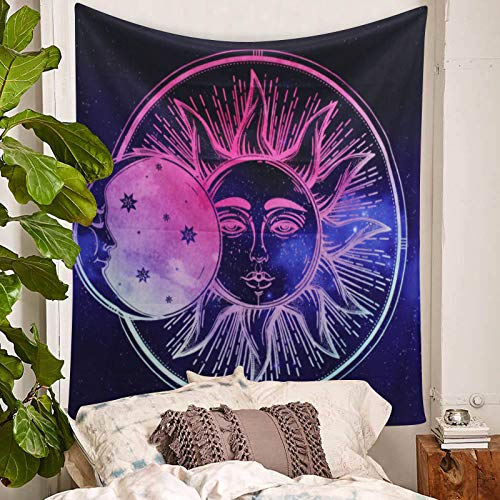 DBLLF Psychedelic Celestial Sun and Moon Tapestry Stars Tapestry Large Dorm Decor Hippie Hippy Wall Hanging Indian Cotton Tapestry Psychedelic Tapestry Navy Blue (Navy Blue, 60×60Inches)