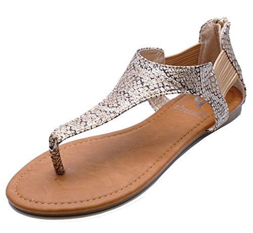 Ladies Flat Gold T-Bar Flip-Flop Summer Sandals Gladiator Shoes Sizes 2-8