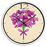 10inch White Metal Frame Flower Gift For Lover Picture Silent Non Ticking Glass Quartz Decorative Wall Clock