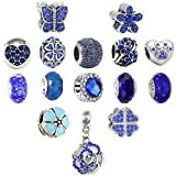N'joy 16PC Assorted Crystal Rhinestone Charm Beads,Clap,Stoper,Dangle Pendant,Fit European Charm Bracelet,March Birthstone (Flower-Blue)