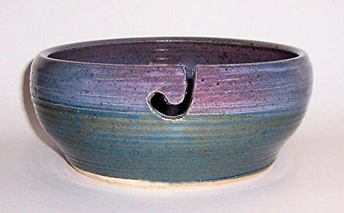 ''ABC Products '' - Hand Made Clay Glazed Yarn Bowl - With Hole Shaped Like Hook To Guide The Yarn Through - (Rustic Primitive Varigated Blue Colors - Great Gift For Someone Who Knits Or Sews) by dist by classyjacs