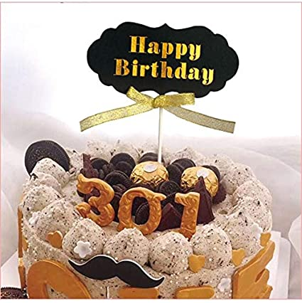 Strange Buy Joyglobal Designer Black And Golden Happy Birthday Cake Topper Birthday Cards Printable Riciscafe Filternl