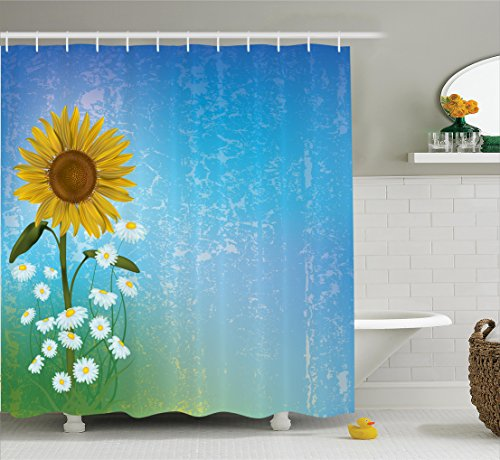Ambesonne Sunflower Decor Shower Curtain Set, Grunge Floral Illustration with Sunflower and Chaomiles Pastel Summertime Art, Bathroom Accessories, 69W X 70L inches, Blue Yellow Green